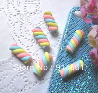 Colorful Handmade Spiral rainbow Lollipop candy clay Cabochons (25x10mm) XT-02 20pcs