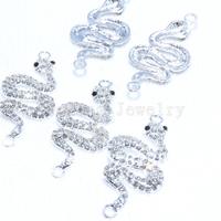 Wholesale 10 Pcs Silver Colors Zinc Alloy Snake Rhinestone Charms 2 Hole DIY Fit For Shamballa Bracelet&Necklace Pendant 20*24mm