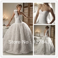 Free Shipping Custom Made Detachable Strap One Shoulder Flower Tulle Puffy Winter Wedding Dresses Ball Gown