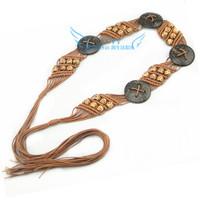 Bohemia Ms. wax rope braided coconut shells wide belt Korean wild sweet waistband