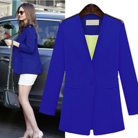 Fast Shipping Wholesale TUBE 2013 Fashion Austumn Out Wear Long Sleeve Plus Size Womens Western Blazer XL Black And White