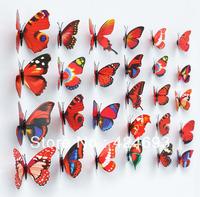 30pcs/lot 4-12cm mix wall/Refrigerator Butterfly Stickers 3D Artificial Butterfly Fridge Home  Christmas Wedding decor
