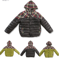 2014 new Fall winter cotton Warm sports coat parkas down children clothing baby  kid boy stripes outwear Plaids hooded jacket