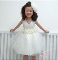 Female child  princess  wedding dress performance wear infant child evening dress white costume