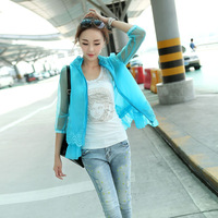 Sun protection clothing summer 2013 three quarter sleeve organza sun protection clothing all-match cardigan outerwear female