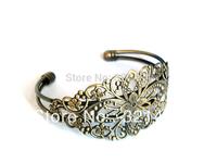 Wholesale 100piece/lot Antique bronze 63mm Filigree Flower Brass Cuff Bracelet Blanks