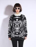Free shipping!2013 autumn new style for women Harajuku t-shirt  letter skull gdt long-sleeve sweatshirt black