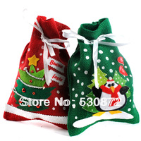 Free shipping Hot selling christmas ornaments Red Green christmas bags hemp printting gift bags