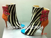 Red Sole Zebra Stripes Women Sexy Peep Toe Horsehair Ankle Boots Buckle Decoration Fashion Leather Boots