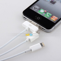 2PCS 3 In 1 USB Charging Line Power Cable Micro USB Phone/Pad/iPhone4s/5C MP4 Universal Charger