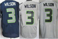 free shipping 2013 elite blue white grey russell wilson jersey 3# number name are sewn on man 40 44 48 52 56 m l xl xxl xxxl