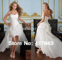 Free Shipping Sweetheart Beading Organza A-line High Low Bridal Gown Wedding Dress Short Front Long Back vestido de noiva