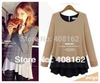 spring autumn 2014 new fashion cotton chiffon long sleeve plus size ruffles casual blusas  femininas t shirt  women blouse