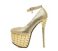 Free shipping  2014  sexy women's pumps 16cm ultra high heels platform party dance shoes rivet pumps Gold bridal shoes