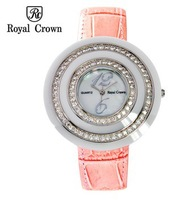 Royal Crown Pink Leather Strap Women Watches Ladies Full Rhinestone Casual Wristwatches Fashion Double Round Quartz Watch