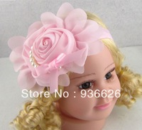 6pcs New Style, beautiful Pearl chiffon Pink flower headband girl baby hair band headwear Photography props