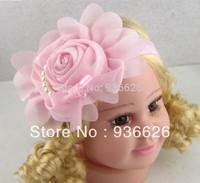 6pcs New Style, beautiful Pearl chiffon Pink flower headband girl baby hair band headwear Photography props