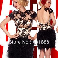 Sexy Fashion Mature Women Short Black Lace Applique Feather Cocktail Dress