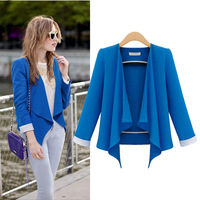 Fast Shipping Wholesale TUBE 2013 Fashion Austumn Out Wear Long Suits Long Sleeve Candy Solid Color Loose Women Blazers
