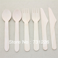"3000pcs 6.25"" Natural Plain Wooden Spoons Forks and Knives for Ice Cream,Birthday, Christmas Party, Craft DIY FREE SHIPPING"
