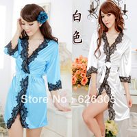 Free Shipping!!! Hotsale Sexy Gown Satin Lace Lingerie Pyjamas Open Front  Sleepwear G+string Nightwear High Quality