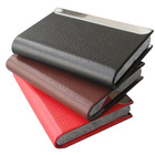 Magnetic lock leather bussiness namecard case ID card holder box organizer wallet Black Lichee pattern 1192(China (Mainland))