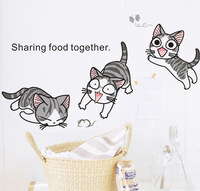 Cheese cat wall stickers cartoon stair child real decoration sticker  Free Shipping