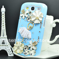 blue ballet girl diamond housing for samsung galaxy S iV S4 mini S3 S2 note 2 ii grand duos i9082 i9080 case back cover bling 3D