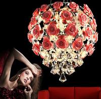 K9 Crystal White Pink ABS Rose LED Pendant Lamp Modern Fashion Pop Design Living Room Light D400mm H390mm