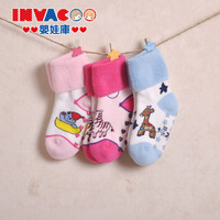 free shipping Double baby socks autumn and winter 0-1 year old 100% cotton towel slip-resistant socks newborn baby socks
