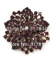 Vintage-Bronze Purple Rhinestone Crystal Diamante Flower Bouquet Pin Brooch
