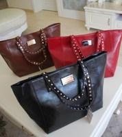 Mng new arrival mango fashion normic mango soft leather shoulder bag handbag shoulder strap rivet decoration Free Shipping