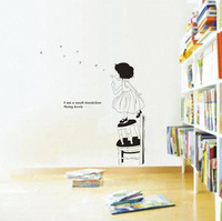 Free Shipping Wall stickers dancingly girl child real decoration sticker
