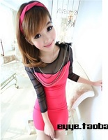 2013 autumn fashion patchwork gualian gauze high slender waist women clothing casual mini sexy hip slim one-piece dress