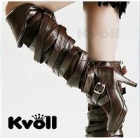 Kvoll platform cross PU vintage wristband leather buckle on over-the-knee high-heeled boots