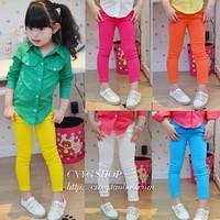 5pcs Children girl's Autumn child girl candy color elastic pencil pants legging 918