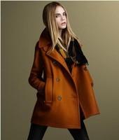 women tweed coat Fur medium style woman coat double breasted woolen outerwear  free shipping