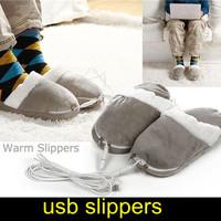 hot sale USB Gadgets plush feet warmer usb indoor slipper adult Electric Heat shoes CE& ROHS F2506