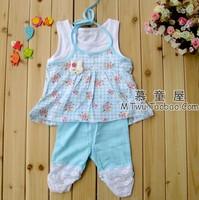 2013 child clothes summer sleeveless spaghetti strap vest set girls clothing 100% cotton clothes