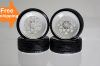 Free shipping 1:10 Car On-Road Racing Wheel Rim & Tyre,Flat Run Tires Fit HSP HPI