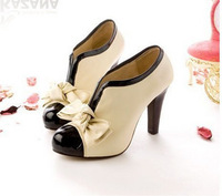 Free shipping 2013 high-heel boots autumn ladies fashion hot selling bowknot round toe boots thick heel boots Q171