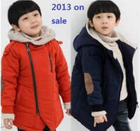2013  boys and girls winter clothing kids wadded jacket cotton-padded plus velvet oblique zipper cotton-padded outwear 1pcs