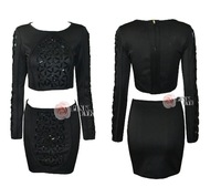 Free shoping NEW ARRIVALS Fashion beaded round neck long-sleeved 2PIEC air layer dress.  TB 5662