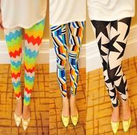Free shipping Korean version of the large elastic thin net yarn graffiti print leggings candy color pantyhose