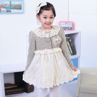 2013 Autumn Children's long-sleeved dress children princess  dress children autumn models girls  dress high quality lace dress