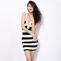 Free shipping Krazy sexy, ultra-low v-neck package and exquisite curve striped skirt with shoulder-straps