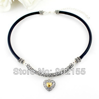 2013 New Fashion Jewelry Silver Color Alloy Black Hide Rope Shorts Women Vintage Heart Choker Necklace for Women Christmas Gifts