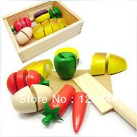 Wooden wood box magnetic fruit qieqie see wool fruit toys