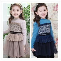Free Shipping 5pieces/lot Cotton Kid Childen Long Sleeve Round Neck Patchwork Gauze Puff Girls Floral Ball Bown Dresses