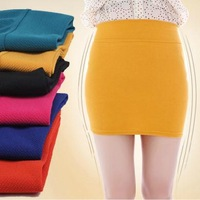2013 Autumn Women's Candy color elastic One Step Slim Casual Mini Skirts,Free Shipping